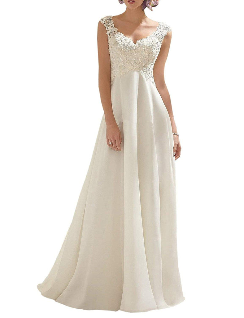Women's Double V-Neck Sleeveless Lace Wedding Dress Evening Dress