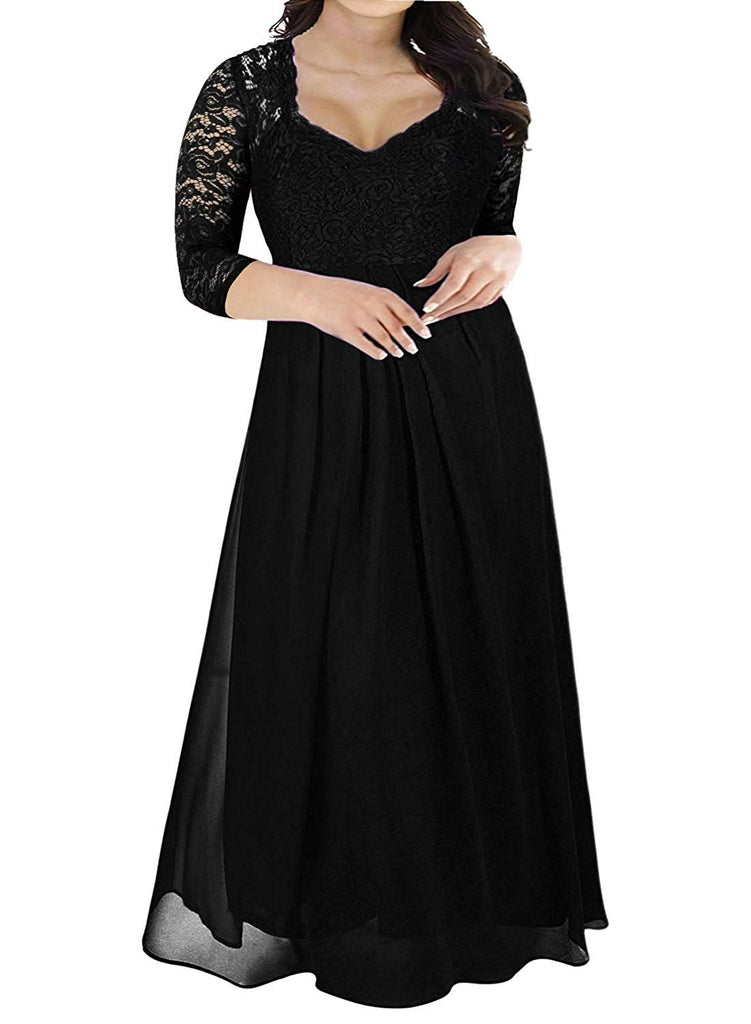 Women's Deep- V Neck Sleeveless Vintage Plus Size Bridesmaid Formal Maxi Dress