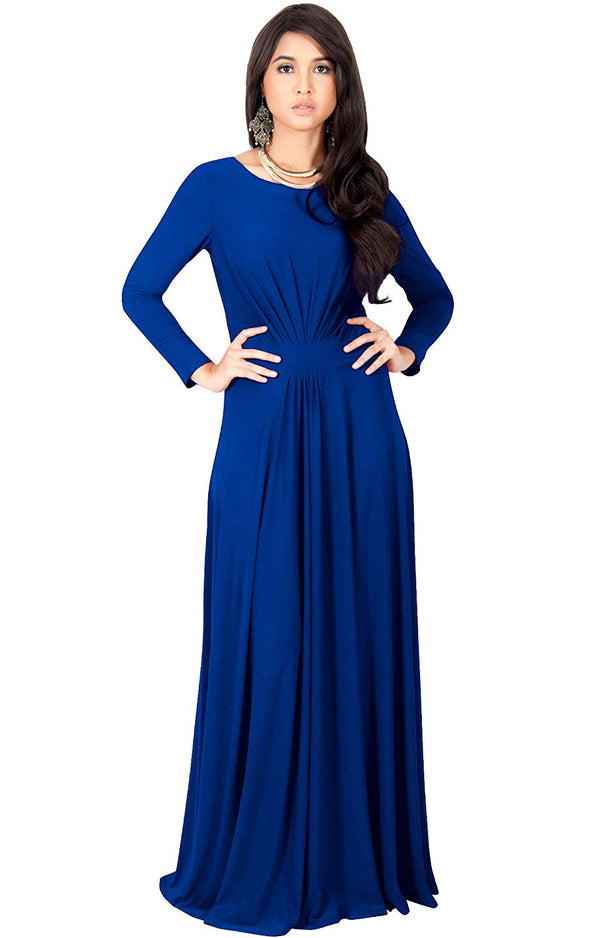 KOH Womens Long Sleeve Flowy Empire Waist Fall Winter Party Gown Maxi Dress