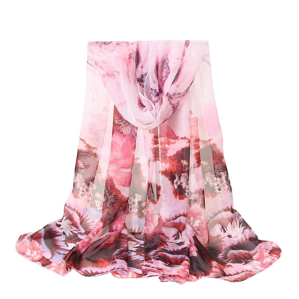 Fall Scarfs for Women Hot Sale,deatu Clearance Ladies Flowers Printing Long Soft Wrap Scarf Shawl