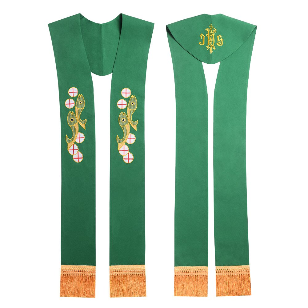 Church Green Stole Priest Embroidered Stole