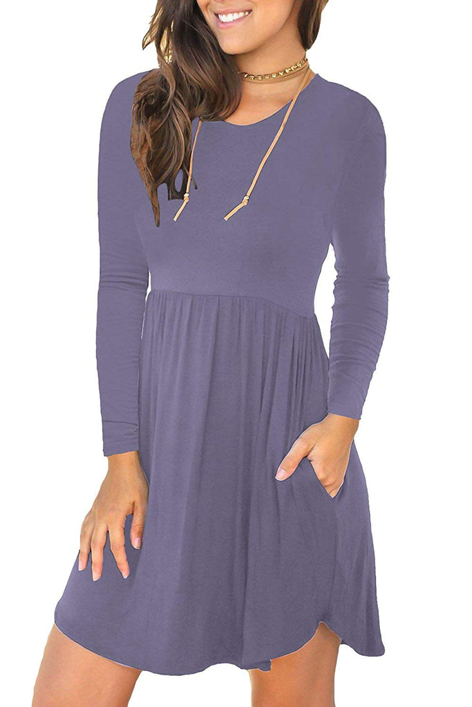 Women's Long Sleeve Loose Plain Dresses Casual Short Swing Dress with Pockets