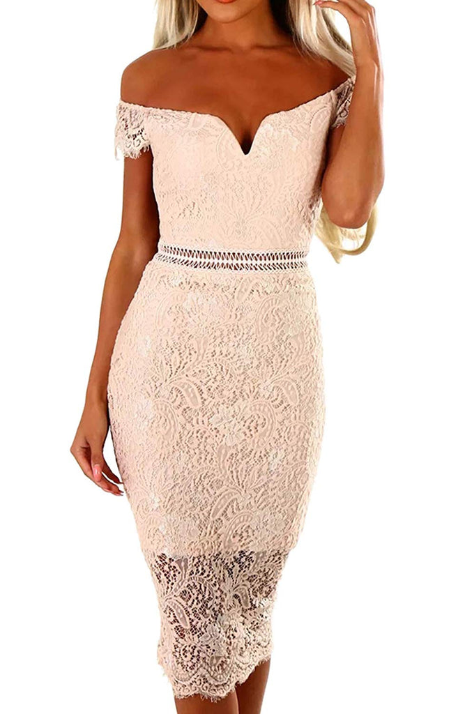 Womens Sexy Criss Cross Off Shoulder Bodycon Party Club Midi Dress