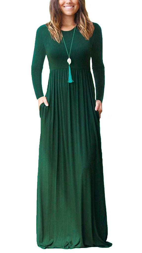 Women Long Sleeve Loose Plain Maxi Pockets Dresses Casual Long Dresses