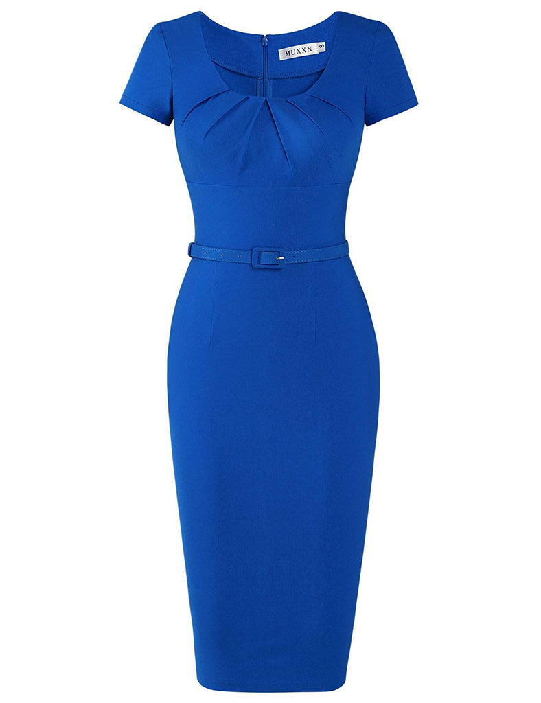 Women's 1950s Vintage Short Sleeve Pleated Pencil Dress