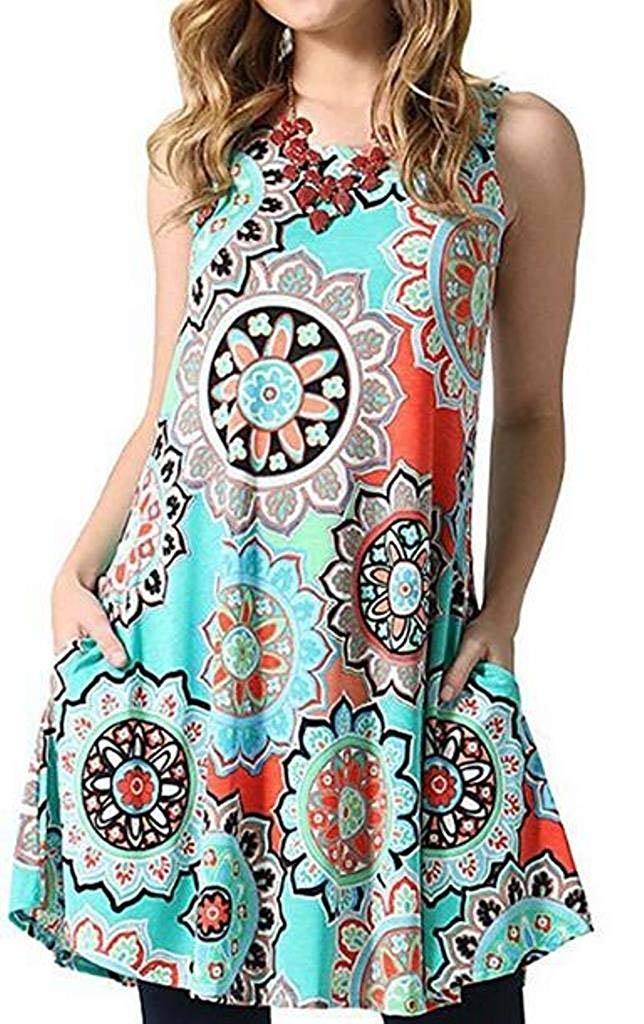 Women Summer Sleeveless Damask Print T-Shirt Dress with Pockets(FBA)