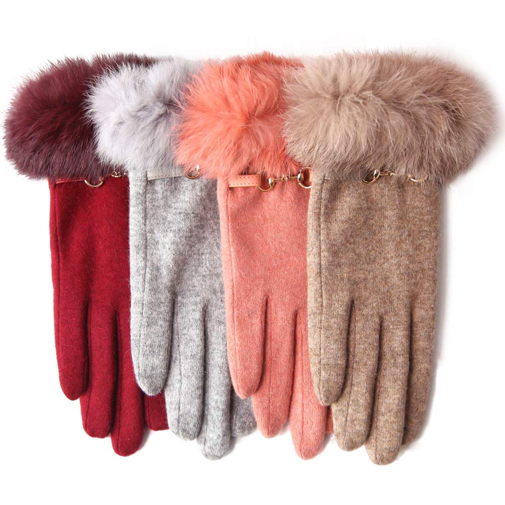 Winter Women Wool Gloves Touchscreen Texting Thick Fleece Lining Knit Mitten Rabbit Fur Cuff