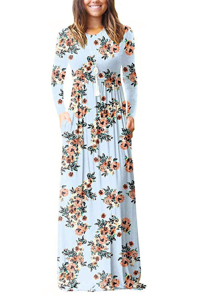 Women Floral Printed Long Sleeve Empire Maxi Dress with Pocket