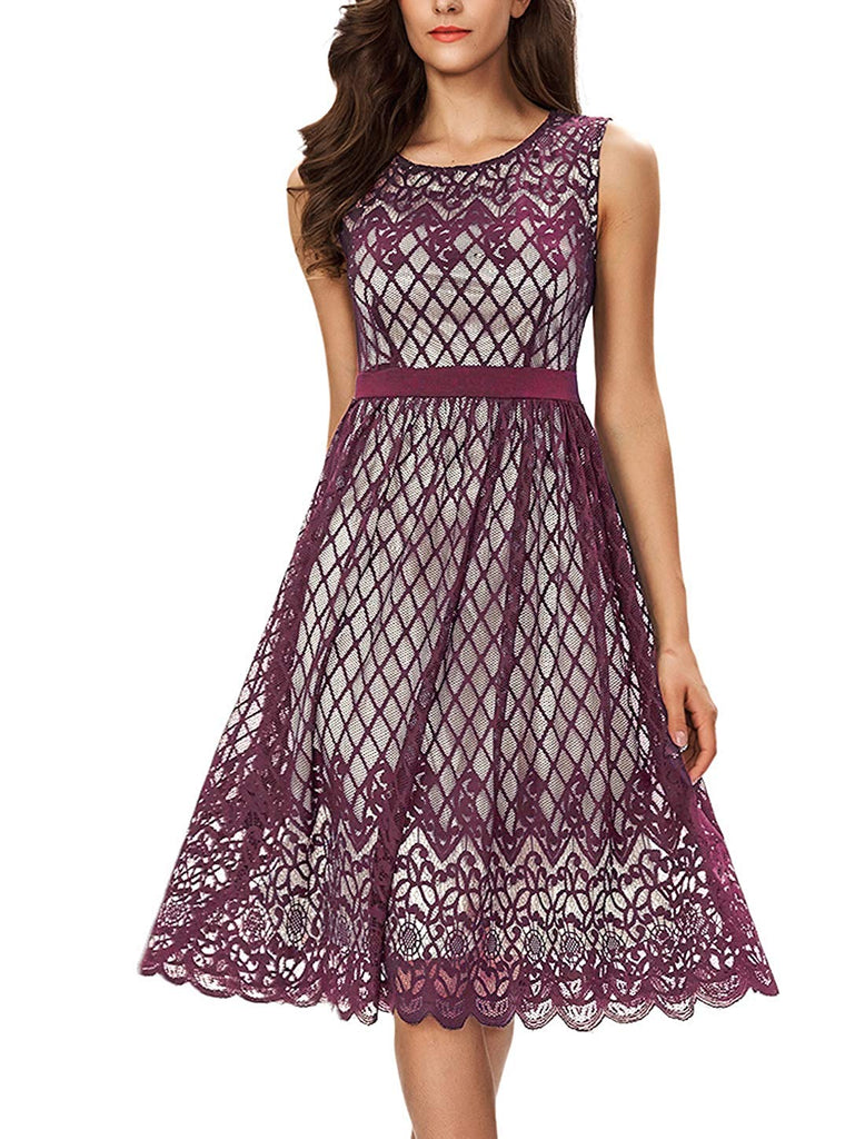 Women's A Line Lace Cocktail Wedding Party Midi Swing Tea Dress