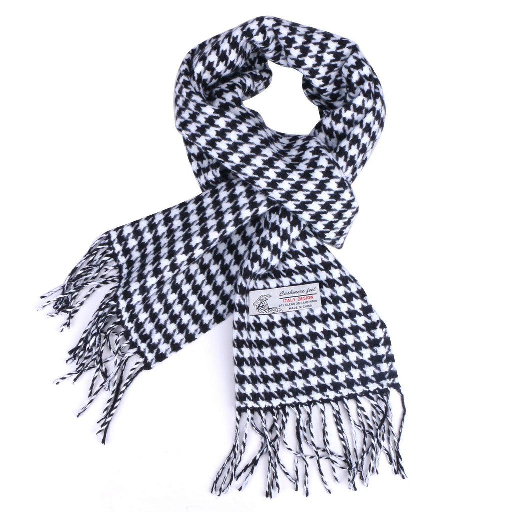 Houndstooth Checked Pattern Cashmere Feel Classic Soft Luxurious Winter Scarf For Men Women
