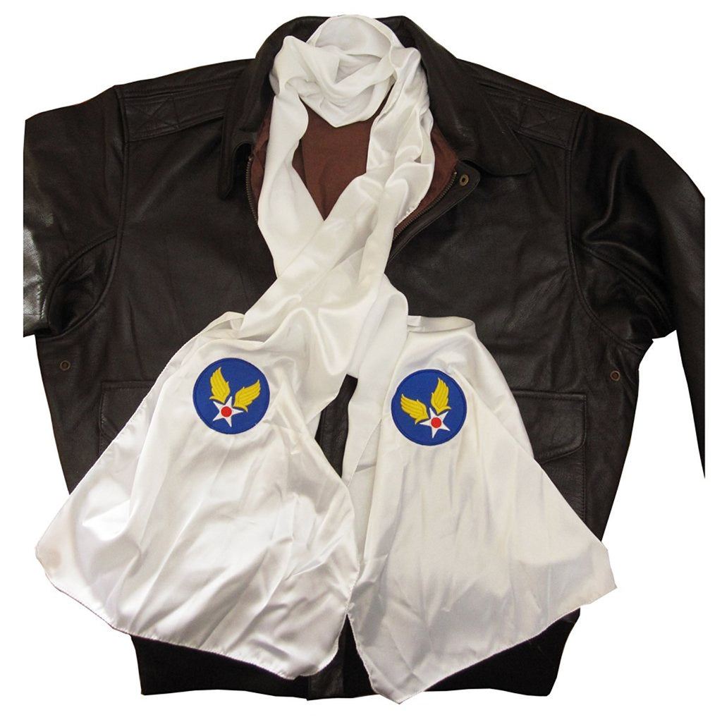 US Army Air Forces USAAF Pilots Scarf in White