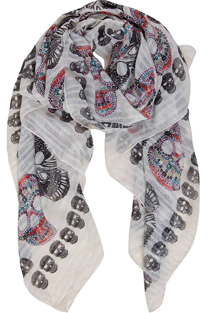 Chic Sugar Skull Scarf - Long Oversized Lightweight Printed Shawl Wrap