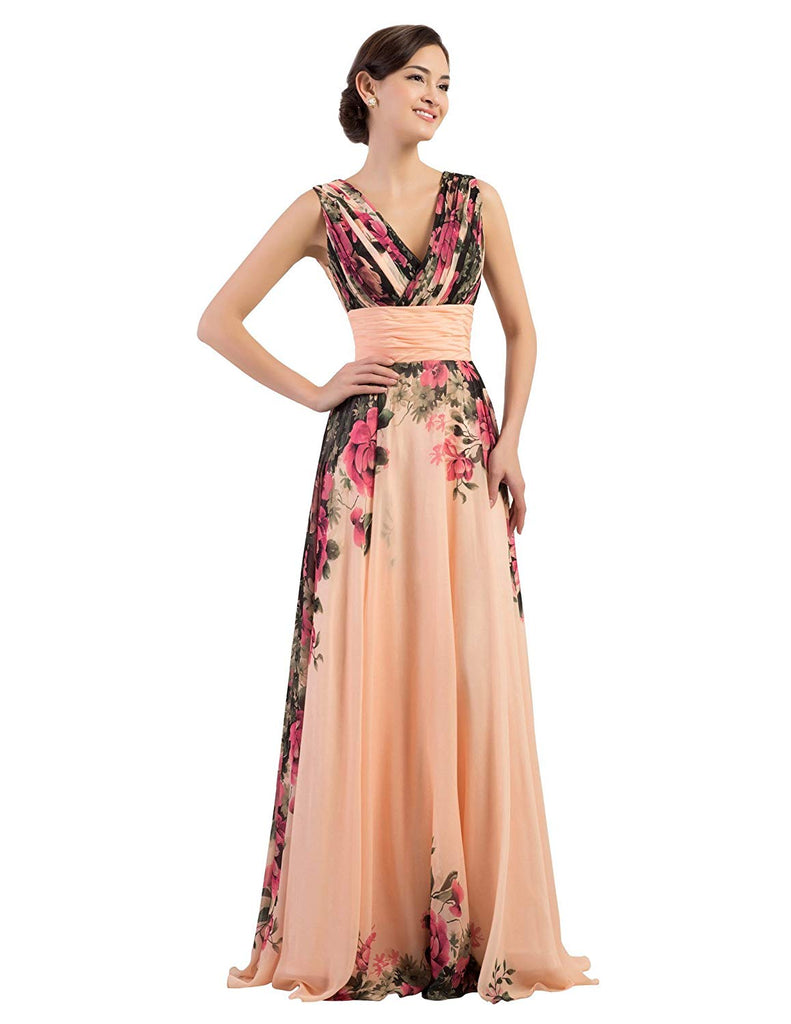 KARIN Floral Print Graceful Chiffon Prom Dress for Women (Multi-Colored)