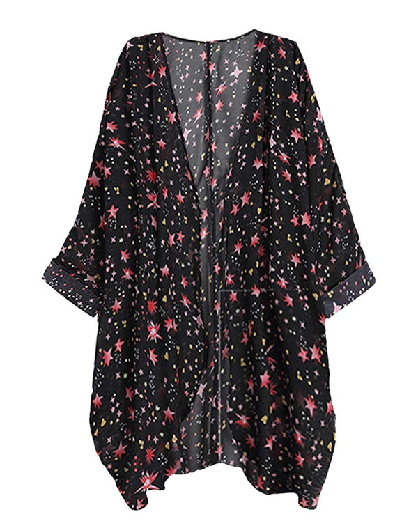 Women's Sheer Chiffon Kimono Cardigan Solid Casual Capes Beach Cover up