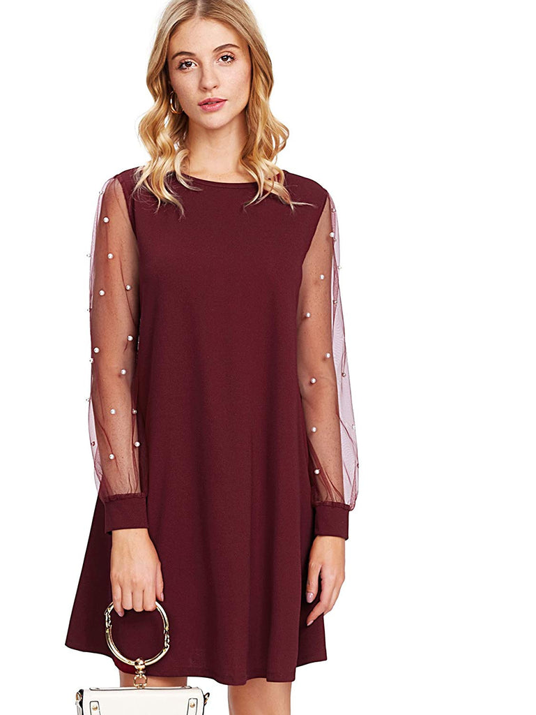 Women's Velvet Tunic Dress with Embroidered Floral Mesh Bishop Sleeve