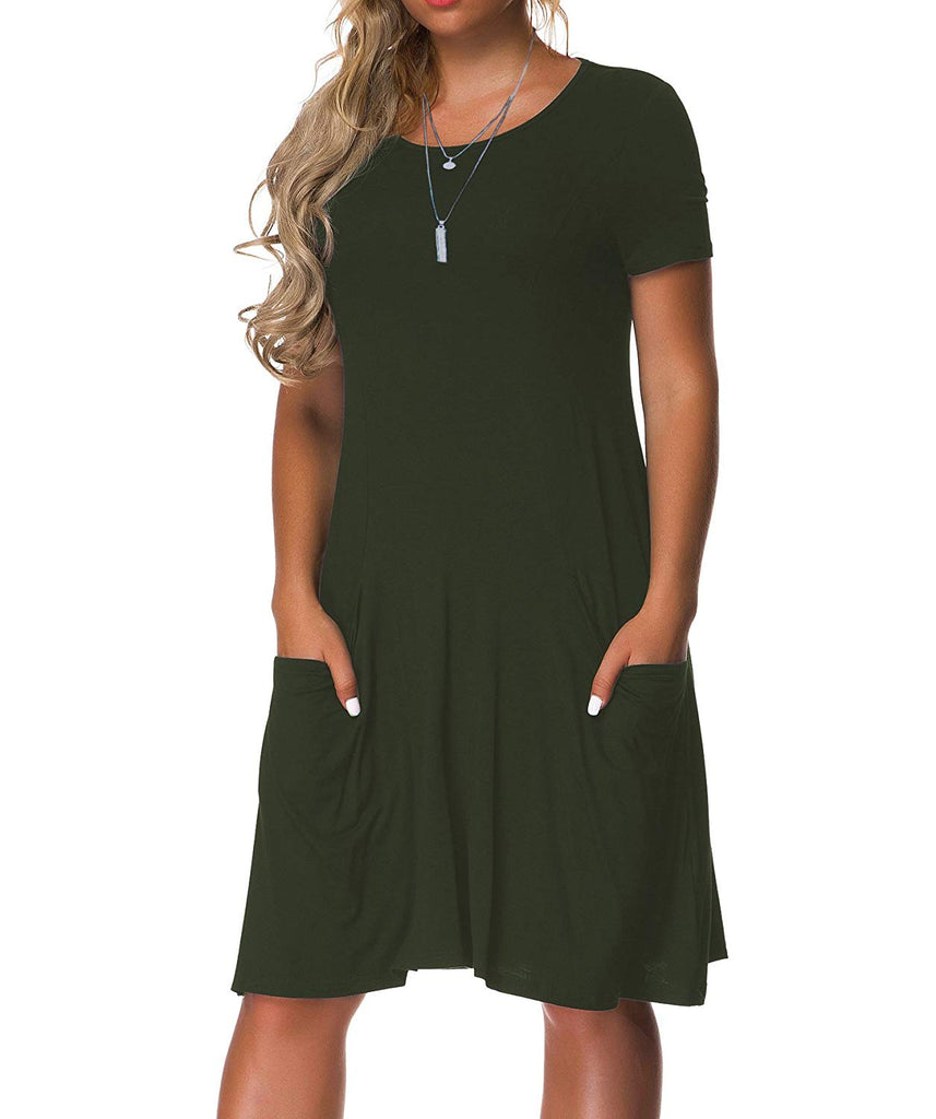 Women's Plus Size Casual Loose T Shirt Mini Dress with Pockets