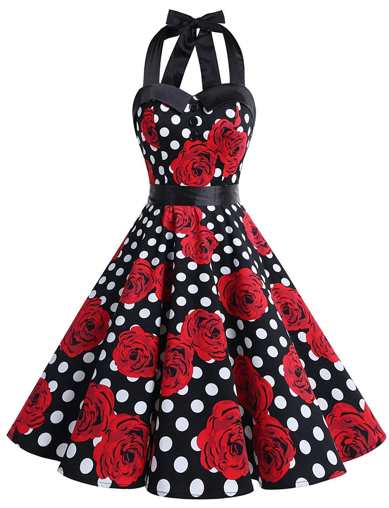 Vintage Polka Dot Retro Cocktail Prom Dresses 50's 60's Rockabilly Bandage Black White Rose L