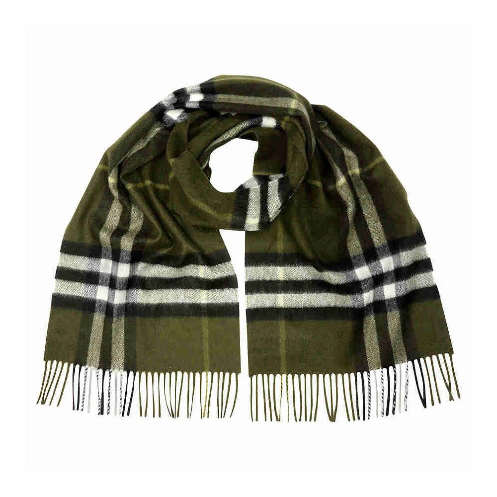 Classic Cashmere Scarf in Check - Olive