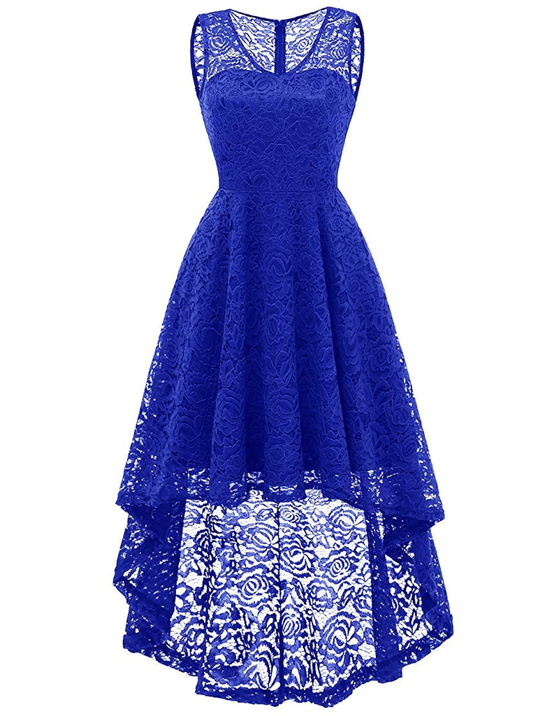 Women's Cocktail V-Neck Dress Floral Lace Hi-Lo Formal Swing Party Dress
