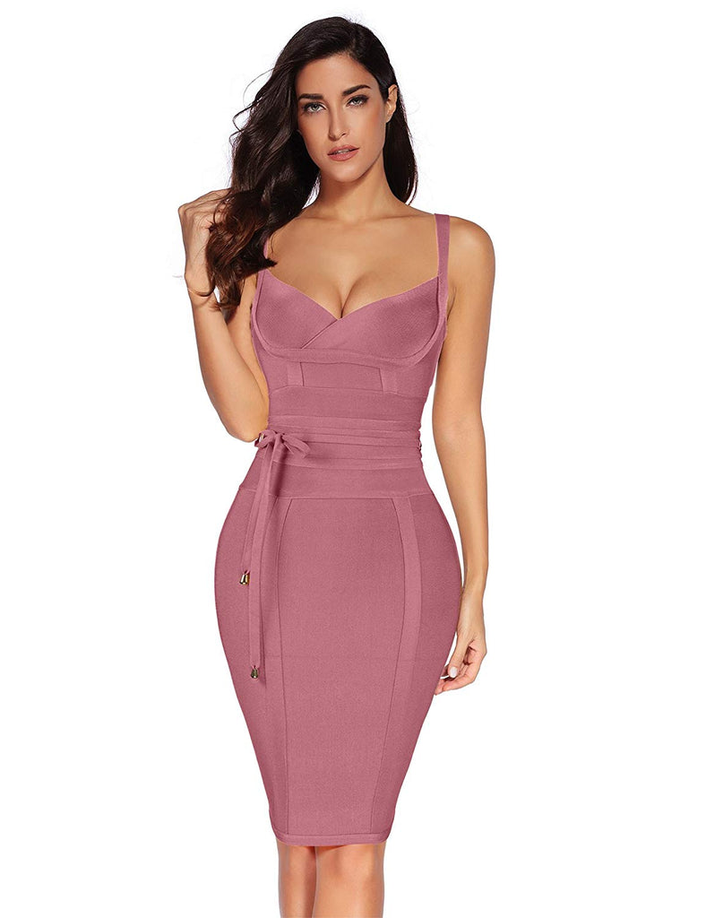 Womens Rayon Belt Detail Bandage Bodycon Party Dress