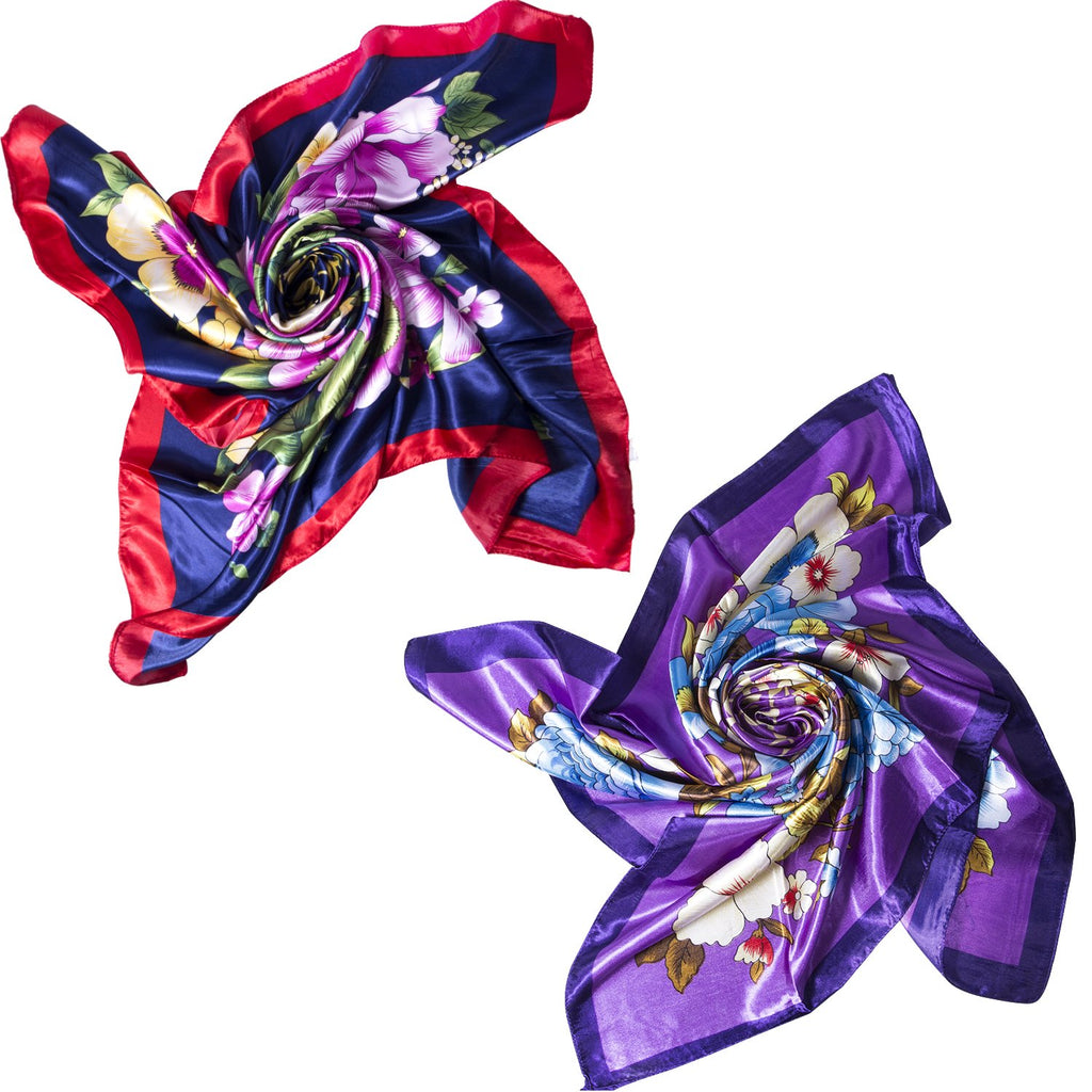 PCS Women's Large Satin Square Silk Feeling Hair Scarf 35 x 35 inches
