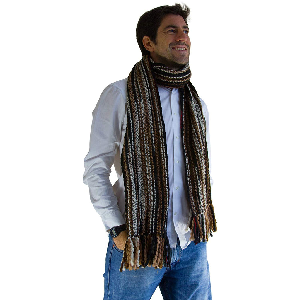 LAC - Striped Thick, Extra Long Luxurious Scarf - Handmade and Very Warm - Unisex
