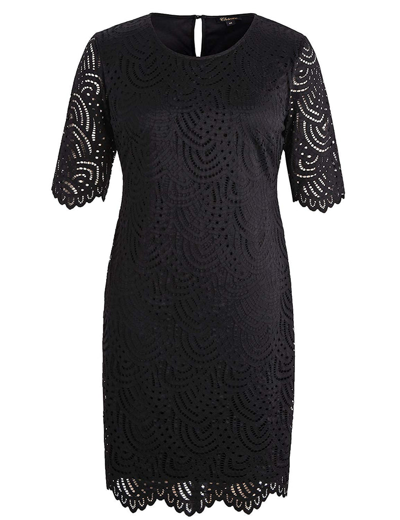 Women's Stretch Lined Plus Size Lace Shift Dress with Scalloped Hem and Cuff