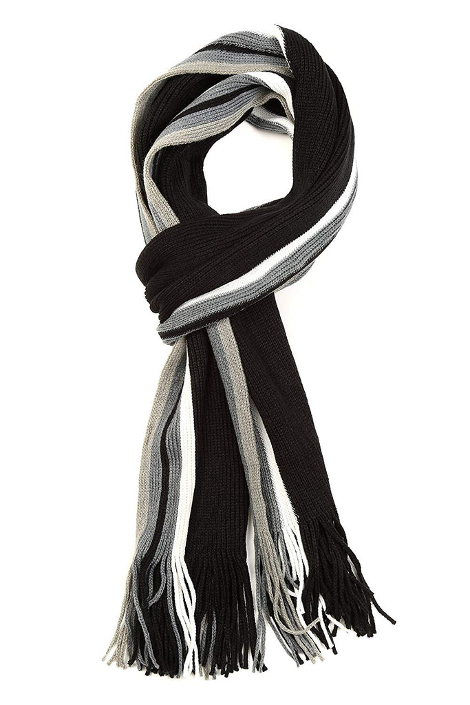 Rhyland Striped Color Block Knitted Winter Scarf With Fringe