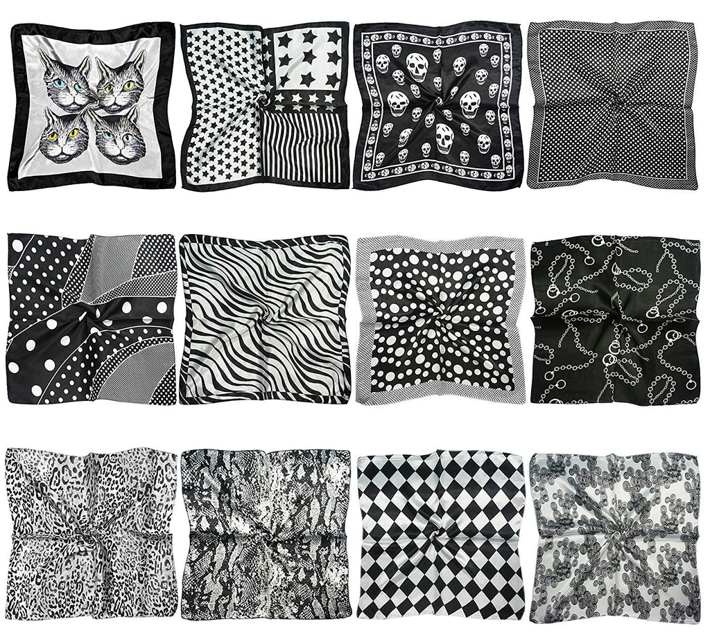 12 Mixed Designs Small Square Satin Womens Neck Head Scarf Scarves Bundle Lot Set