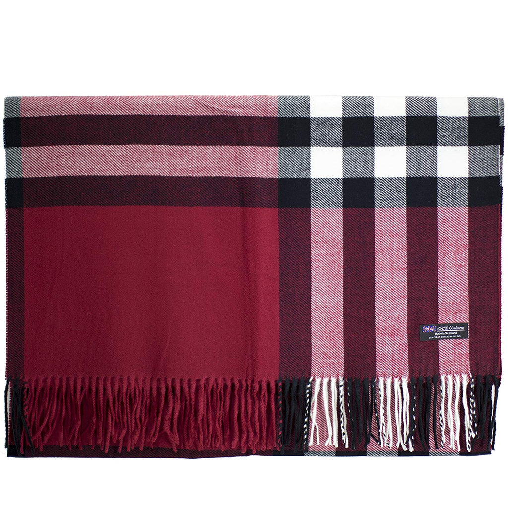 100% Cashmere Blanket Oversized Scarf OS Tartan Check Scotland Wool Plaid (Red Black White)