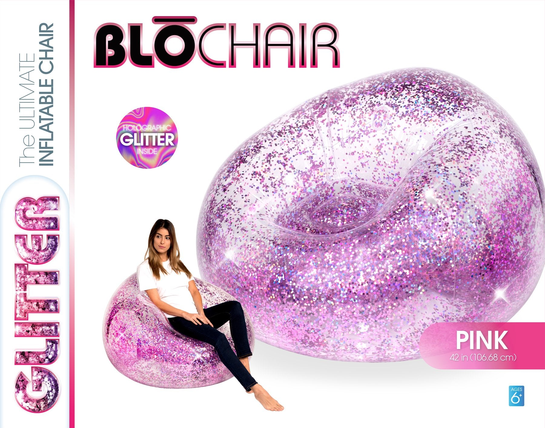 Inflatable Multicolored Glitter Chair