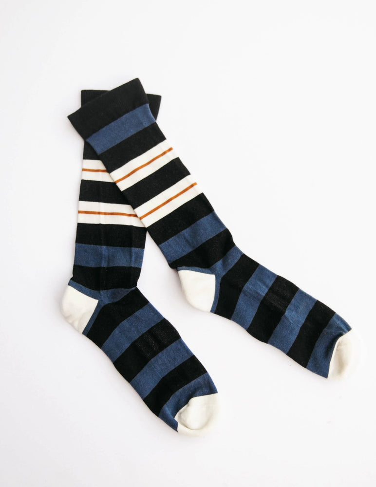 Men's Dark Navy Double Stripe Crew