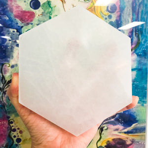 Selenite | Charging Plate Hexagonal | Ajna Jewels & Gems | Crystal Shop | Brisbane | Australia
