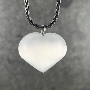 Selenite Heart Pendant 20- 25mm | Ajna Jewels & Gems | Crystal Shop | Brisbane | Australia