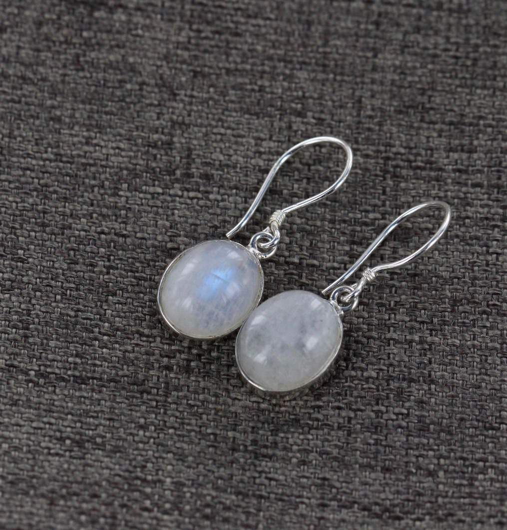 Rainbow Moonstone Drop Earrings 3, 925 Sterling Silver, Ajna Jewels & Gems, Crystal Shop, Australia