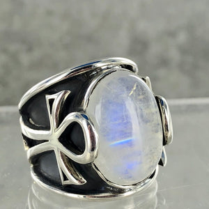 Rainbow Moonstone Ankh | Size 9 |  925 Sterling Silver Ring | Ajna Jewels & Gems | Crystal Shop | Brisbane | Australia