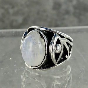 Rainbow Moonstone | Eye of Horus Ring | Limited Edition | Size 7 |  925 Sterling Silver Ring | Ajna Jewels & Gems | Crystal Shop | Brisbane | Austrlalia