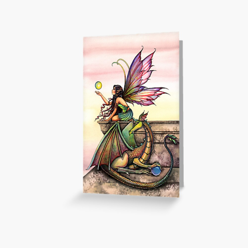 Dragons Orbs Fairy Art Greeting Card