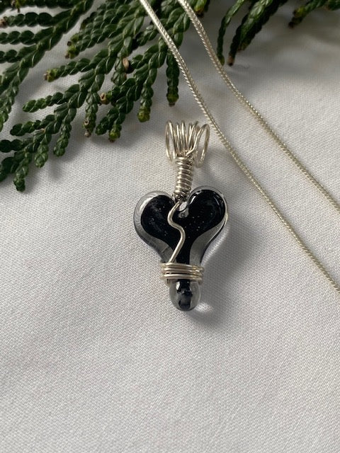 Glass Heart Charm (Chain Sold Separately) - Black Center