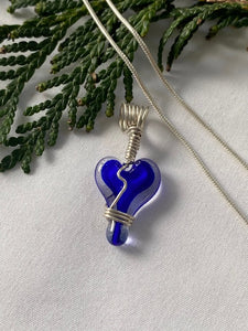 Glass Heart Charm (Chain Sold Separately) - Blue Center