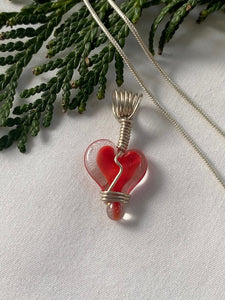 Glass Heart Charm  (Chain Sold Separately)- Red Center