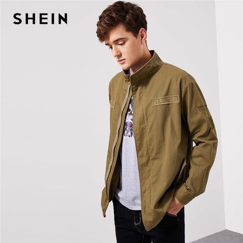 7a1ab3f4725b8 SHEIN Men Khaki Letter Patched Flap Pocket Coat Casual Cotton Zipper Single  Breasted Outerwear Mens Autumn