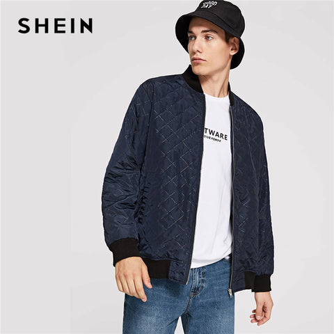 8ffcc6a9d6751 SHEIN Men Navy Casual Solid Pocket Zip Up Textured Stand Collar Minimalist  Jacket Autumn Thermal Women