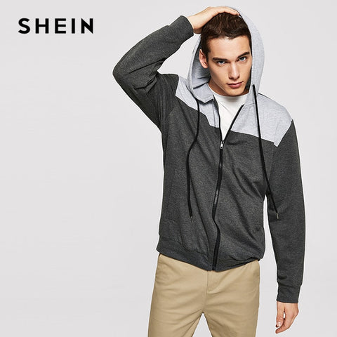 0d19d3379ee9c SHEIN Men Grey Minimalist Casual Color Block Drawstring Hoodie Zipper Up  Sweatshirt Autumn Mens Leisure Long