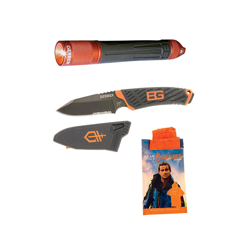 Compact Fixed Blade, Survival Torch & Poncho Combo