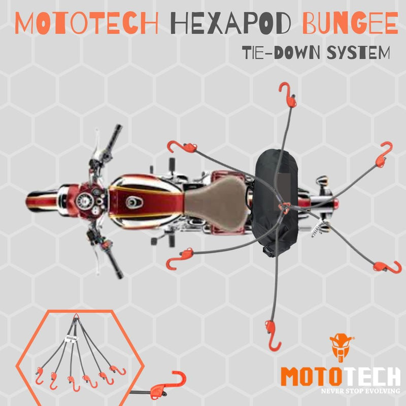 "Hexapod Bungee Tie-down System - 32"" / 80cms - Grey + Orange"