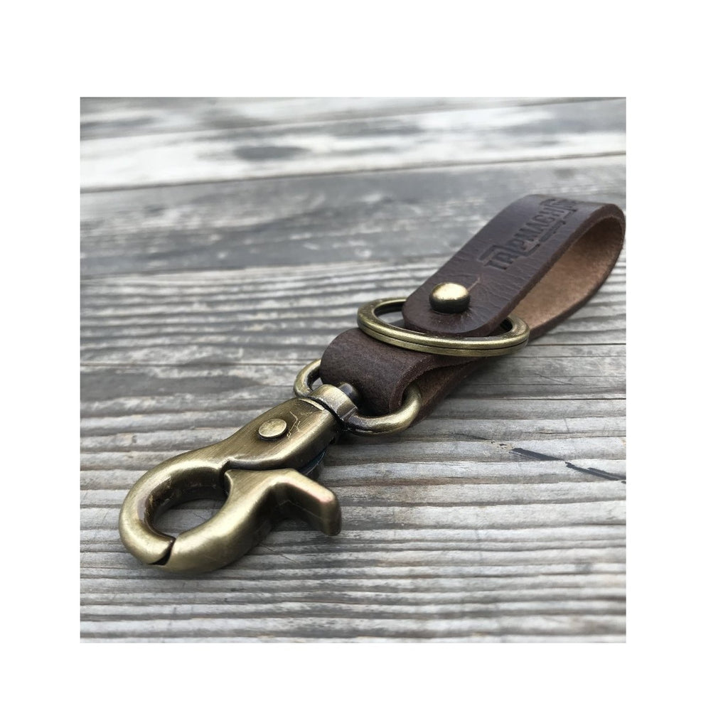Key Fob - Tobacco Brown With Antique Gold