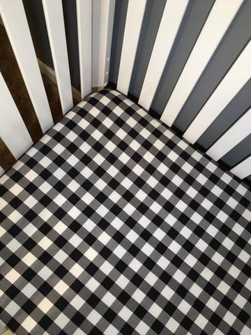 Buffalo Plaid B&W Fitted Crib Sheet