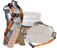 Roofer's Kit Complete with Tongue and Buckle Harness, Lifeline, and Anchor