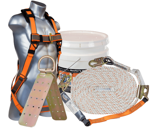 Roofer's Kit Complete with Tongue and Buckle Harness, Lifeline, and Anchor - Wryker